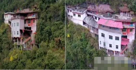 惊了!无人机航拍贵州深山发现悬崖上有栋楼 凑近拍下罕见画面